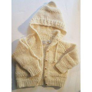 Vintage Handmade Ivory/Cream Baby Sweater Plastic